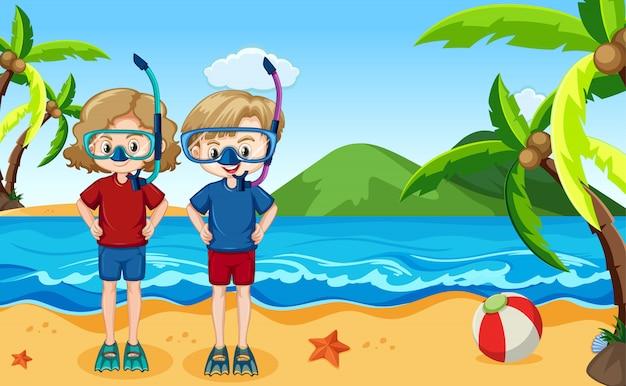 Ocean scene with people having fun on the beach