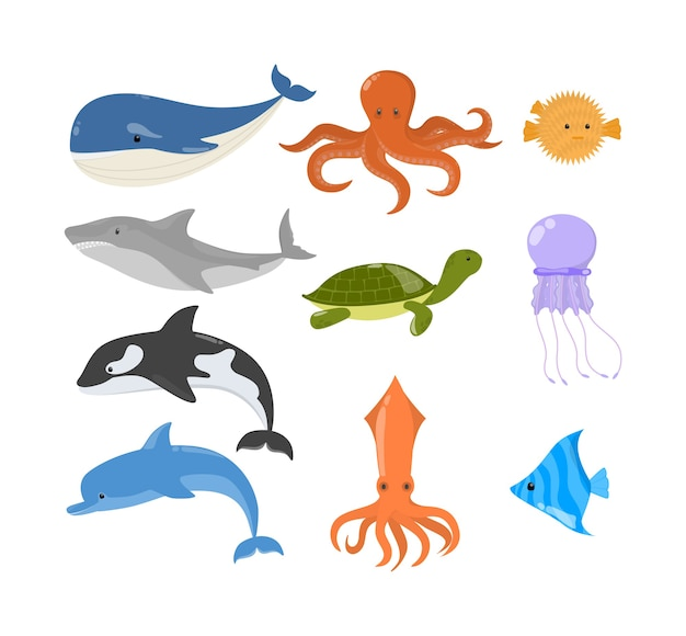 Ocean and sea animal set. collection of aquatic creature. octopus and shark. marine turtle.   illustration