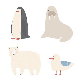 Ocean sea creatures and animals set walrus, penguin, polar bear, seagull cartoon vector illustrations.