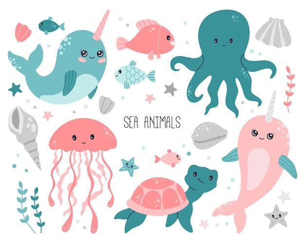Океан, море, коллекция милых детенышей животных на белом