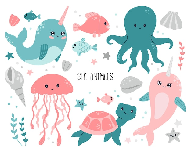 Ocean, sea cute baby animals collection on white