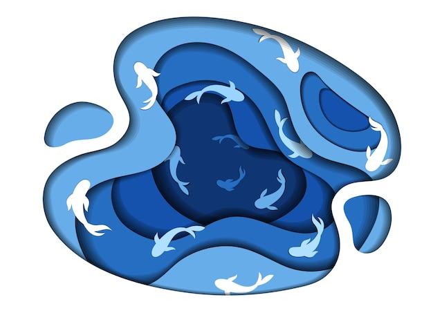 海、海、湖、川、貯水池の概念。魚やイルカが泳いでいる青い水循環。ミニマルなレイヤードペーパーカットデザイン