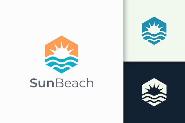 Ocean or sea logo in abstract water wave and sun represent adventure