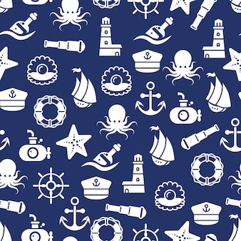 Ocean or sea seamless pattern with anchor boat bottle shell octopus