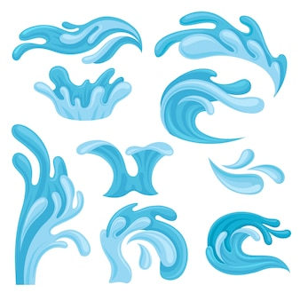 Ocean or sea waves set, water splashes  element for marine nautical theme  illustrations on a white background