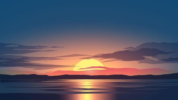 Океан закат небо пейзаж с облаками