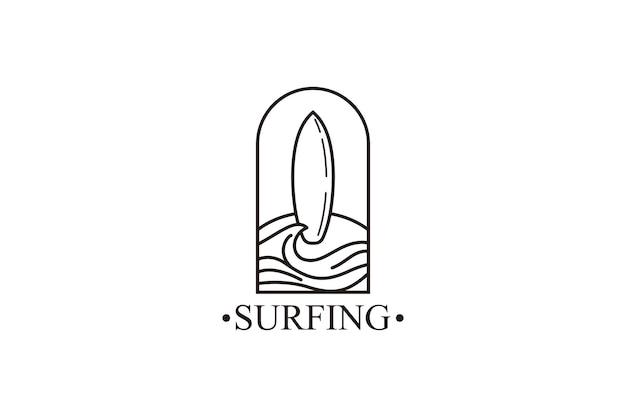 Океанский серфинг линии искусства логотипа векторной иллюстрации дизайн пляжного логотипа