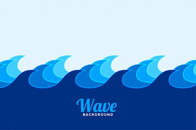 Ocean surface wave background in blue shades colors