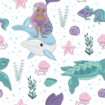 Ocean tale mermaid girl seamless pattern