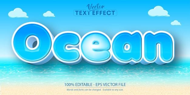 海のテキスト、漫画風の編集可能なテキスト効果