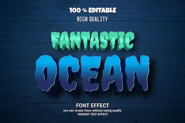 Океанский текстовый эффект, редактируемый шрифт