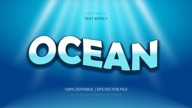 Ocean text effect premium vector