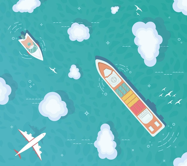 Вид сверху на океан. контейнеровоз, грузовой корабль, яхта, лодка посреди океана.