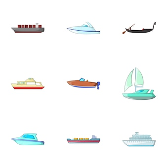 Ocean transport set, cartoon style