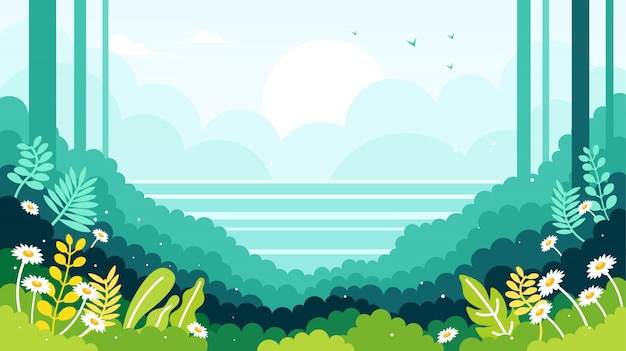 Ocean view on the edge of the forest illustration