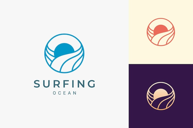 Ocean or water theme logo with waves and sun in circle
