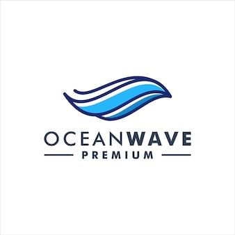Ocean wave logo design icon vector
