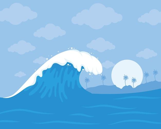 Сцена с океанской волной
