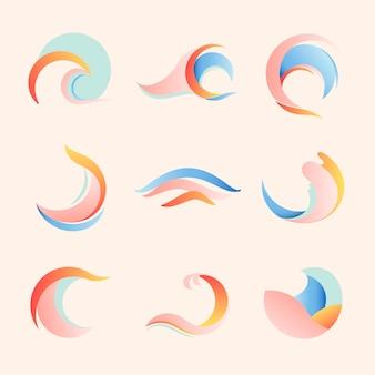 海の波のステッカー、美的な水のクリップアート、ビジネスベクトルセットのパステルロゴ要素
