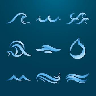 바다 물결 스티커, 애니메이션된 물 클립 아트, 비즈니스 벡터 세트에 대 한 파란색 로고 요소