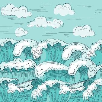바다 파도 완벽 한 패턴입니다. 손으로 그린 s 배경. 바다 물결 원활한 패턴 질감, 해양 물결 모양 그리기