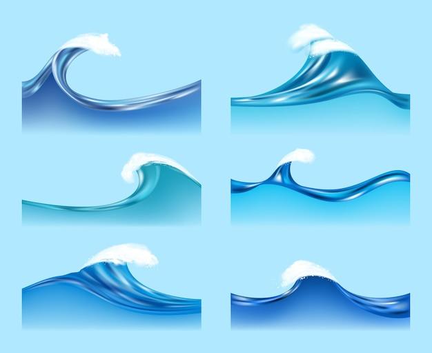 Океанские волны. водные жидкие поверхности с прозрачной пеной горизонтальные волны потока векторные иллюстрации. иллюстрация морской волны воды, аква всплеск течет, поверхность океана