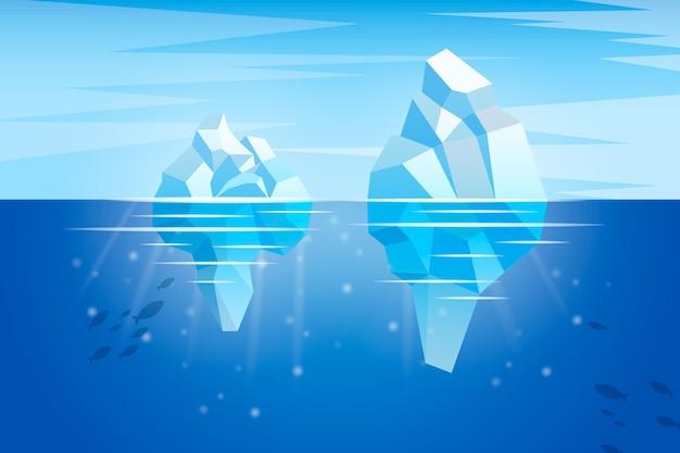 Океан с концепцией иллюстрации айсберга