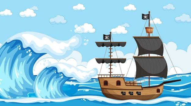 Океан с пиратским кораблем в дневное время в мультяшном стиле