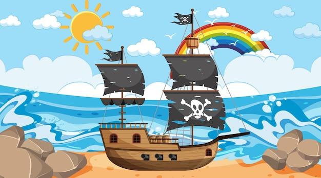 만화 스타일의 낮 시간 장면에서 해적선과 바다