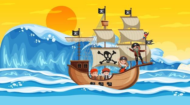 Океан с пиратским кораблем на закате в мультяшном стиле