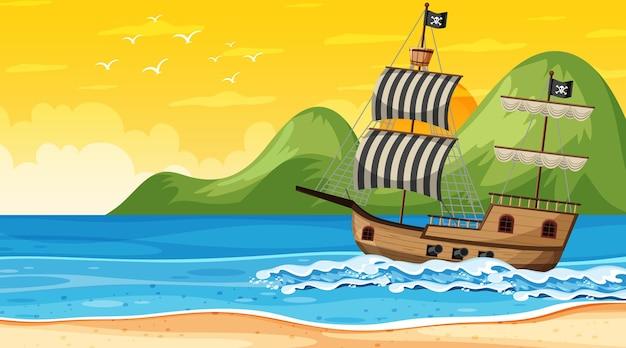 Океан с пиратским кораблем во время заката сцены в мультяшном стиле