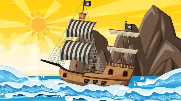 Океан с пиратским кораблем во время заката, сцена в мультяшном стиле