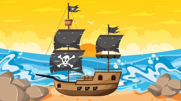 만화 스타일의 일몰 시간 장면에서 해적선이 있는 바다