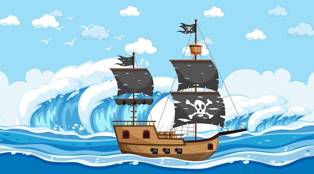 Ocean with pirate ship at day time scene in cartoon style