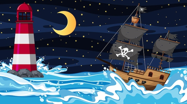 Ocean with pirate ship at night scene in cartoon style