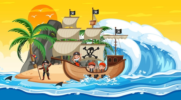 Ocean with pirate ship at sunset scene in cartoon style