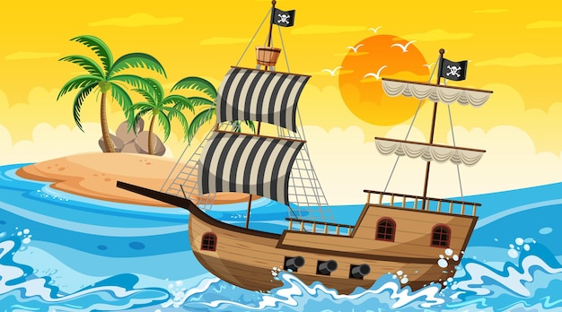 Ocean with pirate ship at sunset time scene in cartoon style