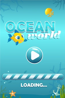 Ocean world start screen for game