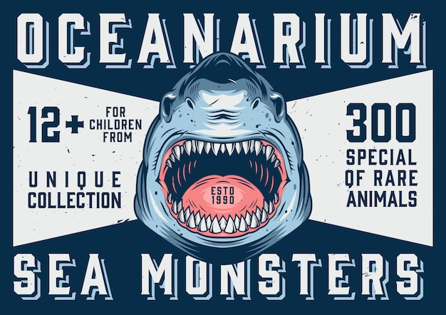 Oceanarium advertising horizontal template