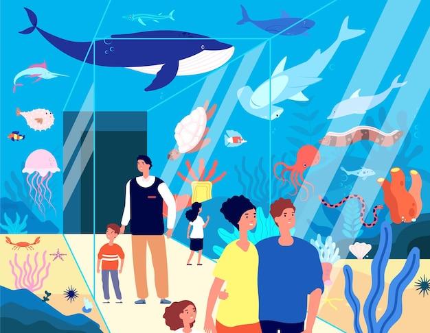 Посетители океанариума. подводный аквариум, семья ищет океанских животных, рыб в морском зоопарке. плоские дети изучают морскую жизнь