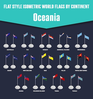 Oceania country flat style isometric flags