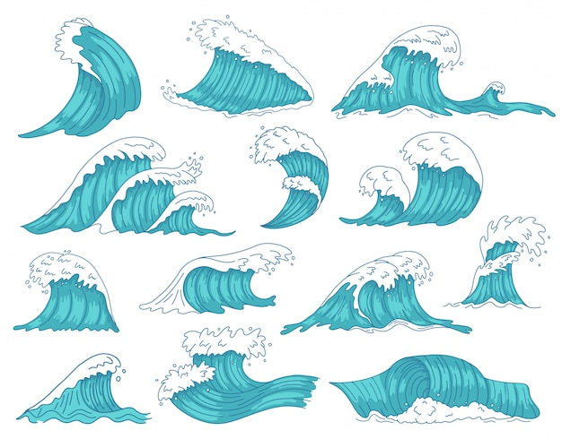 Океанические волны. море рисованной цунами или штормовые волны, вал морской воды, набор иконок иллюстрации волн серфинга на пляже океана. шторм цунами, движение морской волны