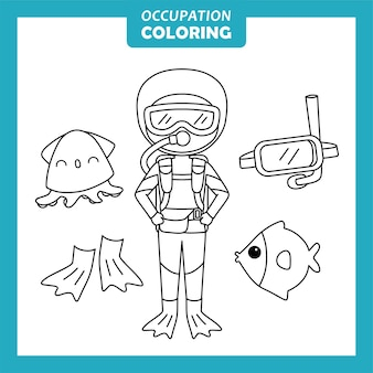 해양 학자 직업 색칠 페이지