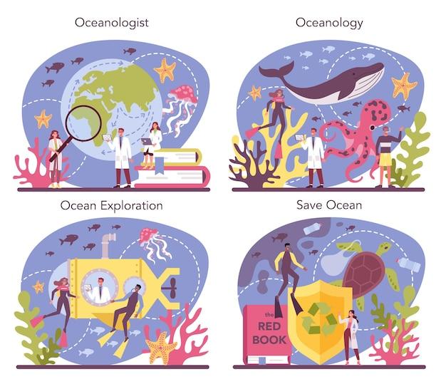 Набор концепций океанолога. ученый-океанограф. практическое изучение и исследование мирового океана и морей, включая их физическое и химическое строение. отдельные векторные иллюстрации