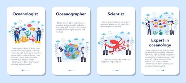 Oceanologistモバイルアプリケーションバナーセット。海洋学の科学者。世界の海と海のあらゆる側面を実践的に研究します。