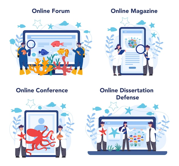Oceanologist online service or platform set. practical studying all aspects of the world's ocean. online forum, magazine, dessertation defense and conference.