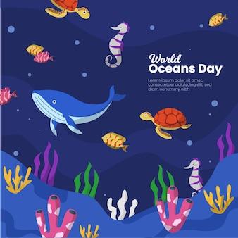 Дизайн шаблона событий дня мирового океана