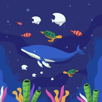 День океанов с морскими существами