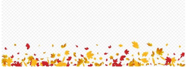 黄土色の葉ベクトルパノラマ透明背景。季節のリーフフレーム。ブラウンツリーフローラルテクスチャ。フライングテンプレート。