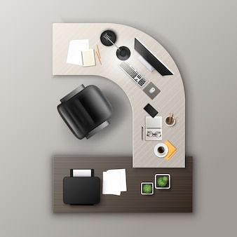 事務用品とデジタルデバイスを備えた黄土色の木製作業台